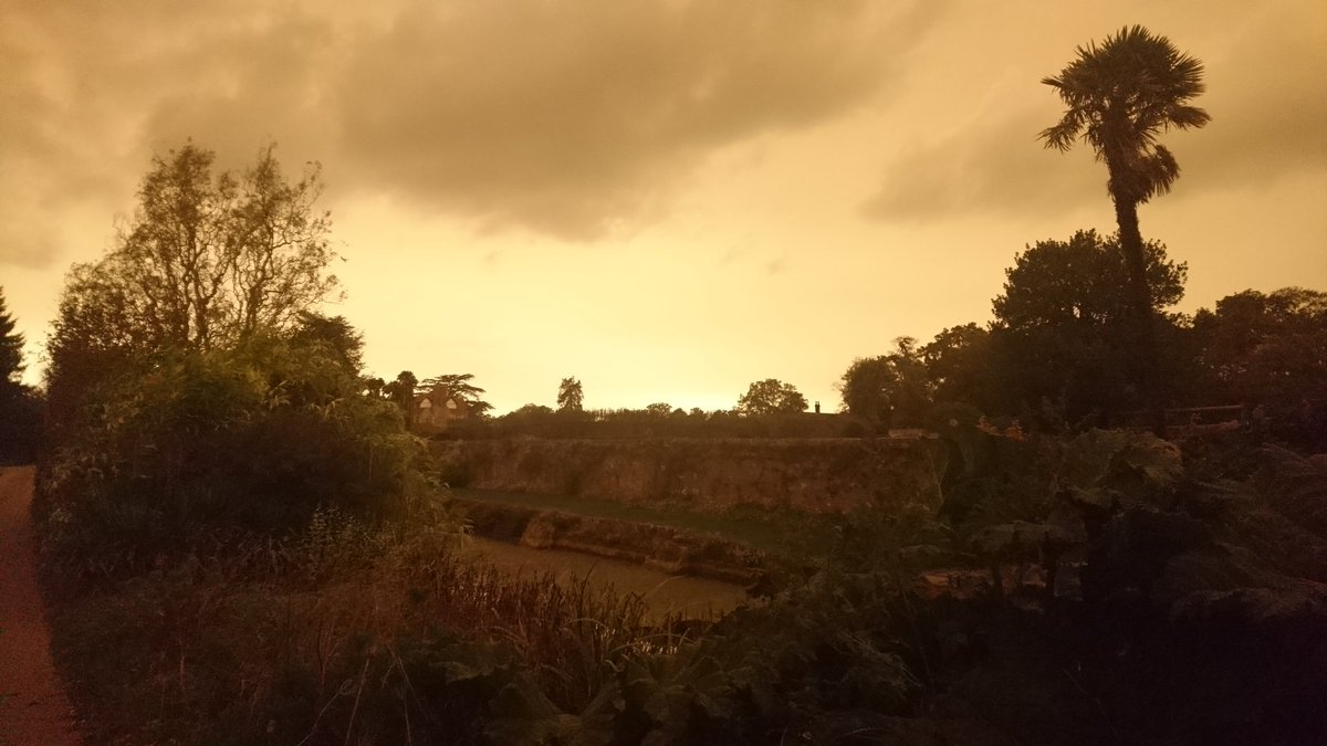 RT @SLeguil #Yellowsky in @LoseleyPark, Guildford due to #Ophelia storm. Strangely beautiful