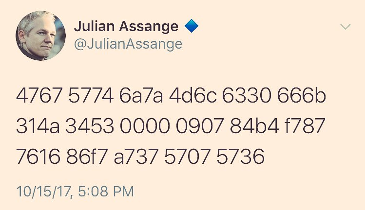 The last time we saw an encryption like this, Wikileaks released a ton of damaging info.  Get your popcorn ready  #WikiLeaks #JulianAssange <br>http://pic.twitter.com/Ek9mc4J3qA