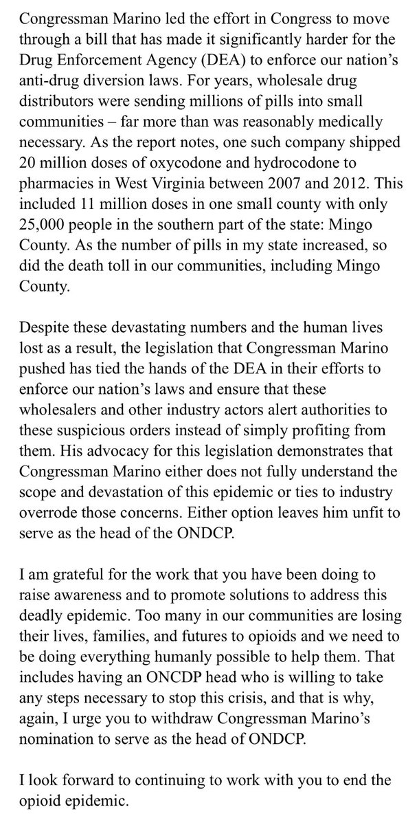 Manchin sends ltr to POTUS asking him to withdraw @RepTomMarino's nom to head Drug Control Policy Office after WaPo story: