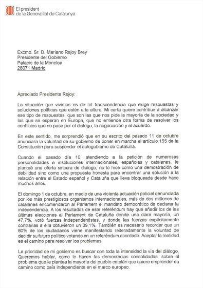 #Catalogne - La lettre de #Puigdemont à #Rajoy pic.twitter.com/J8VHVxV3Ud