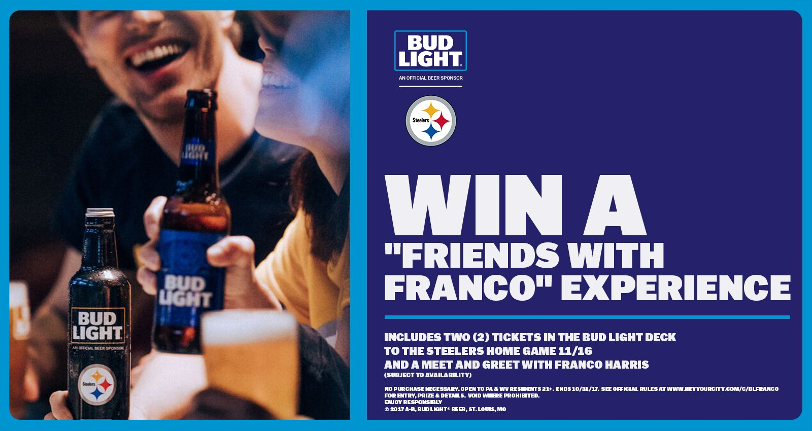 Pittsburgh steelers on twitter enter for your chance to win the pittsburgh steelers on twitter enter for your chance to win the budlight friends with franco experience famousamongfriends more info m4hsunfo