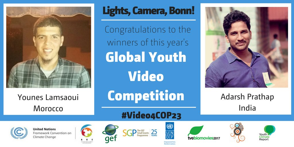 Congratulations winners from Morocco &amp; India #Video4COP23  #UNFCCC #UNDP ! #Youth leading #ClimateAction ! Videos:  http:// bit.ly/2yrjdD8  &nbsp;  <br>http://pic.twitter.com/namm7NRgIr