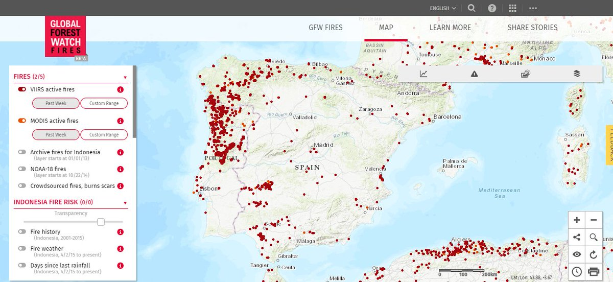 Map Of Fires In Spain 2017.Global Forest Watch On Twitter Wildfires In Portugal And Spain