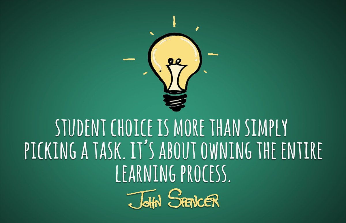 A1 &amp; A2: Learner choice - students need to own the process; otherwise there is no purpose and meaning behind it for them.   #edpiper <br>http://pic.twitter.com/lgWlF3LTuw