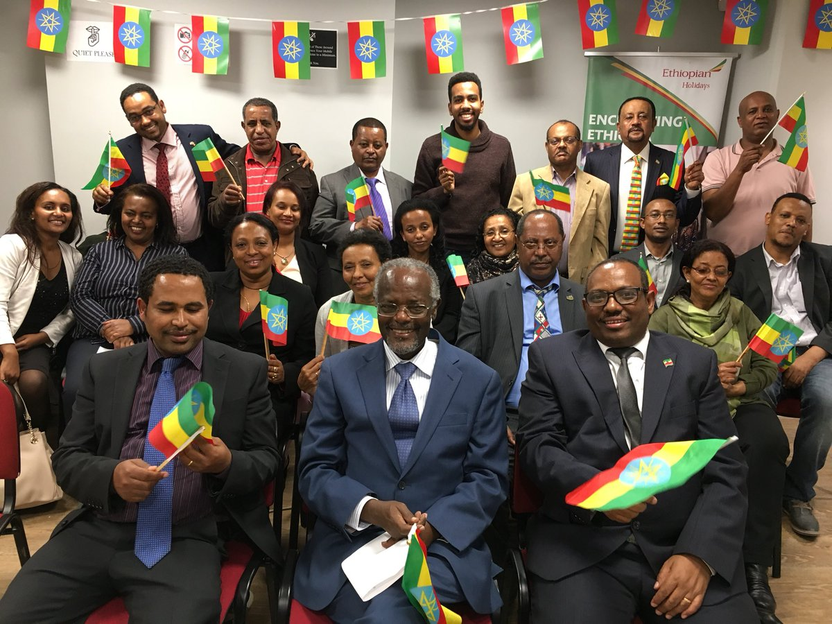 Staff at the Embassy, led by Ambassador Hailemichael, observe National #FlagDay - a day celebrating the mutual respect &amp; unity of #Ethiopia.<br>http://pic.twitter.com/l9slolBVgR