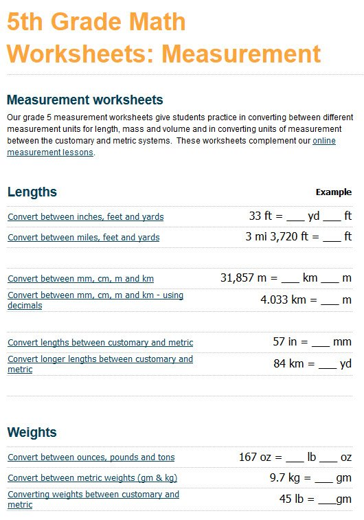 We've added measurement worksheets to our grade 4 and grade 5 math ...