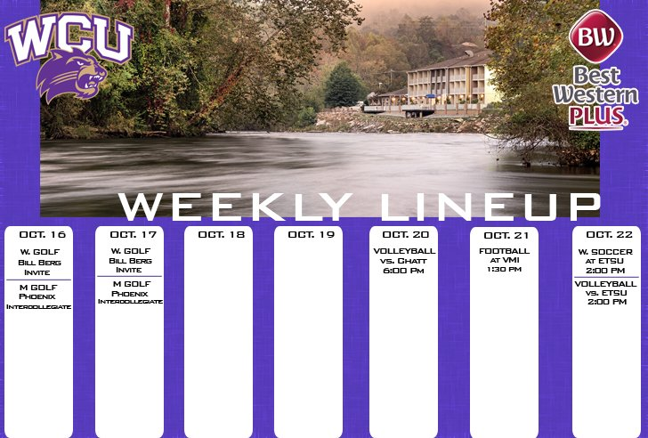 WCU Athletics Weekly Lineup (thru 10-22)