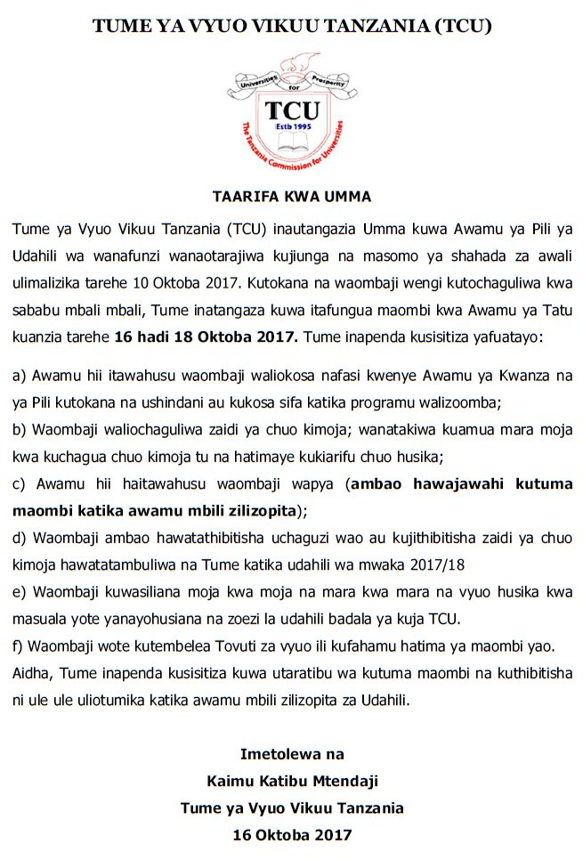 3rd round of applications for Bachelor programs 16-18 Oct 2017 apply online http://41.59.7.251:8081/OAS/  #Tanzania #GainWithXtianDela<br>http://pic.twitter.com/Y52xrBtLyx