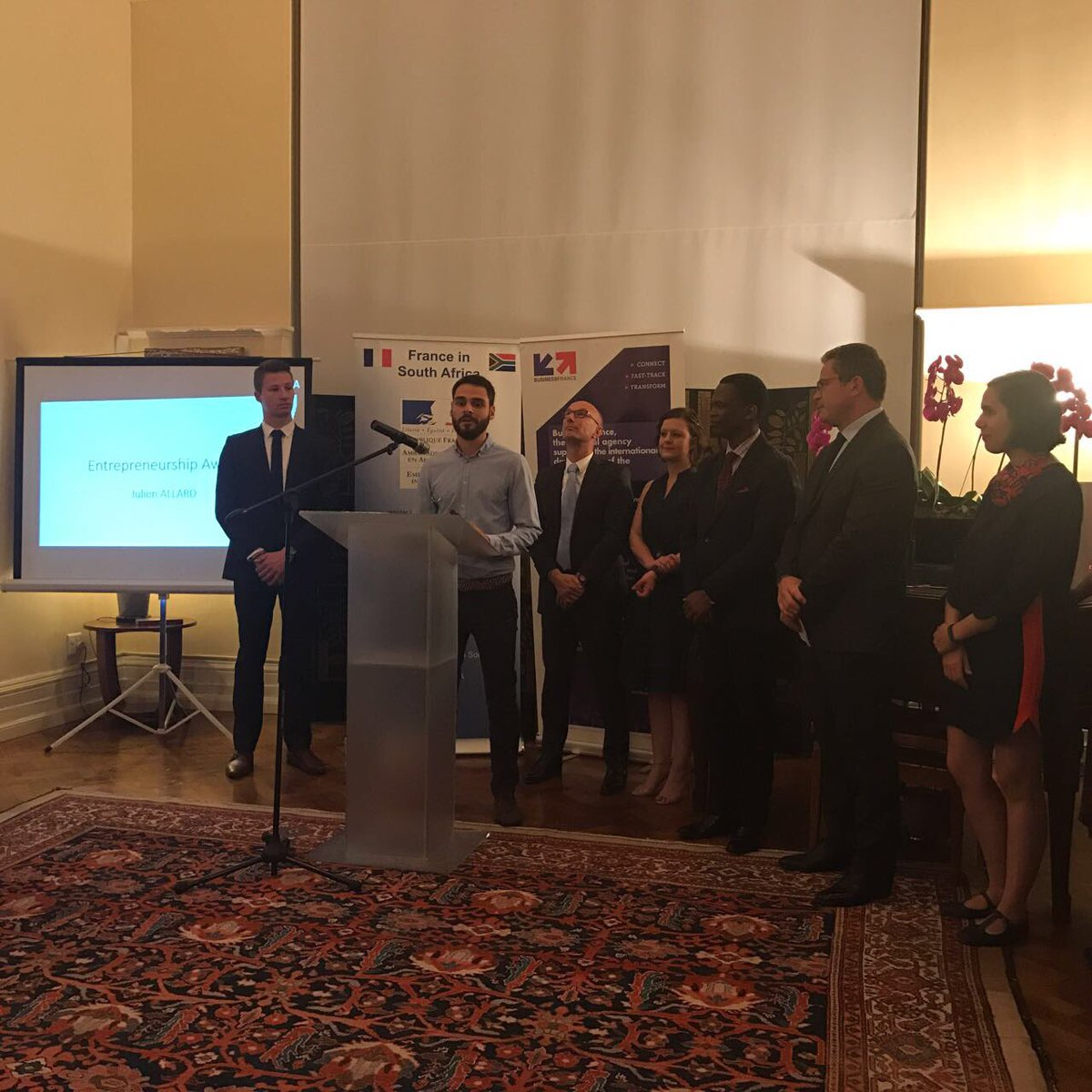 Congrats to Antoine Petit from @Faurecia who won the #innovation prize! #FranceinSA #VIE <br>http://pic.twitter.com/yekK4N5uRW