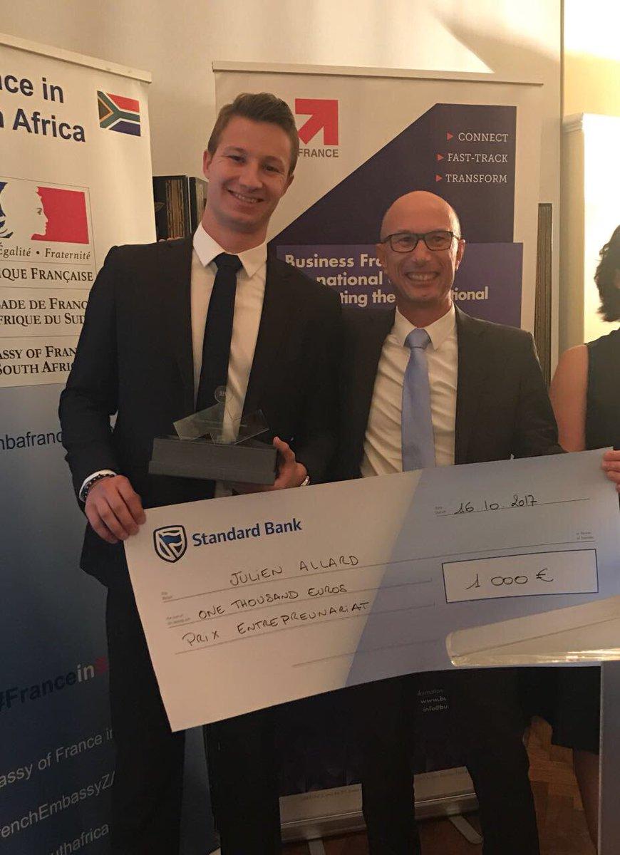 Congratulations to Julien Allard from @IMEDFR who won the #entrepreneurship prize! #FranceinSA #VIE <br>http://pic.twitter.com/oWEZ1Mkiq5