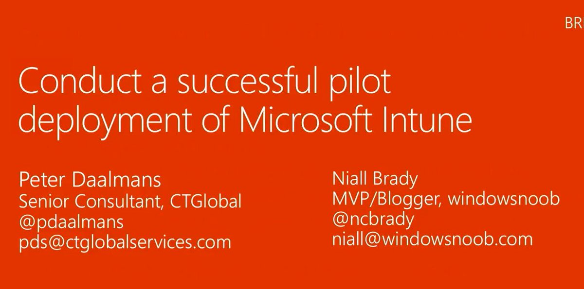 Watch #MSIgnite presentation: Conduct a successful pilot deployment of #MSIntune presented by @pdaalmans @ncbrady    https://www. youtube.com/watch?v=nG7X5Y lOpt0 &nbsp; … <br>http://pic.twitter.com/NiS5EcFbx9