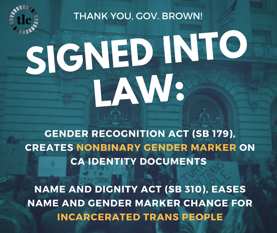 BREAKING: #California Gov signs Gender Recognition Act creating nonbinary gender marker. Read more →  https:// buff.ly/2ylxt19  &nbsp;   @JerryBrownGov<br>http://pic.twitter.com/9RiXHa28vM