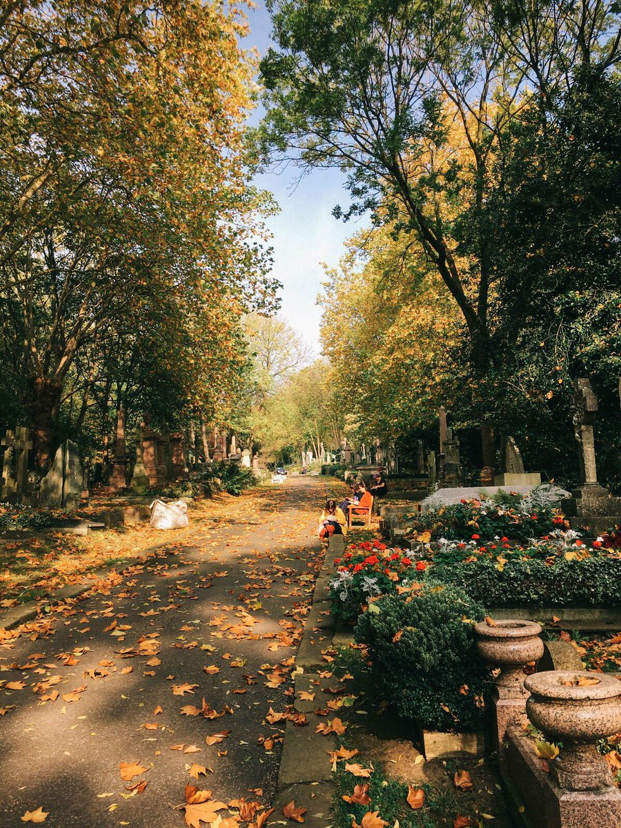 In Highgate Cemetery this morning before the apocalypse came to London. ☀️ 🍂 https://t.co/EPzJObaYml