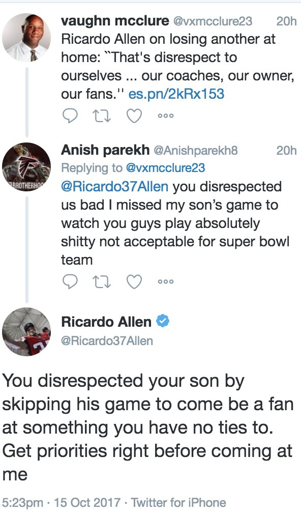 This is a hell of a Twitter exchange between a Falcons fan and Falcons player. https://t.co/USRoDaqG8F