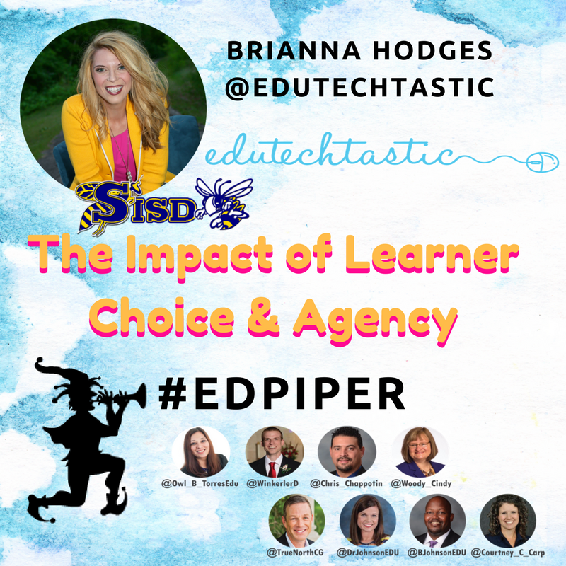 Join us as @eduTECHtastic moderates #EDpiper tonight @ 9PM CST.    The #impact of #learner #choice and #agency. <br>http://pic.twitter.com/kYfe1piKaW