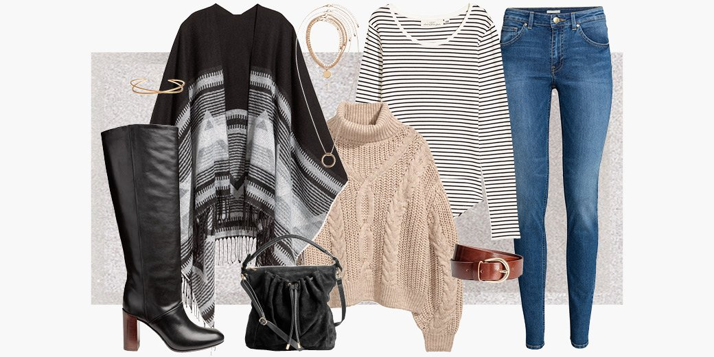Updated today&#39;s look with an on-trend poncho, a cozy knit and knee-high boots:  http:// hm.info/19sys  &nbsp;    #HM #OOTD<br>http://pic.twitter.com/B2guONhcCL