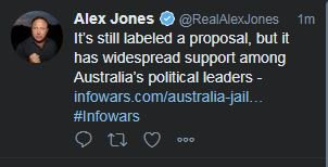 Alex Jones weighing in on Australian politics #auspol