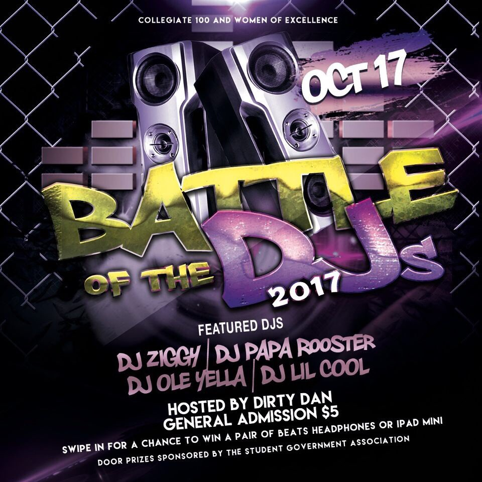 5th Annual Battle of the DJ's by Collegiate 100 and Women of Excellence! Be in the Student Center Ballroom at 5:30pm! #USA21 #USA20 #USA19<br>http://pic.twitter.com/cqRmvrbgu2