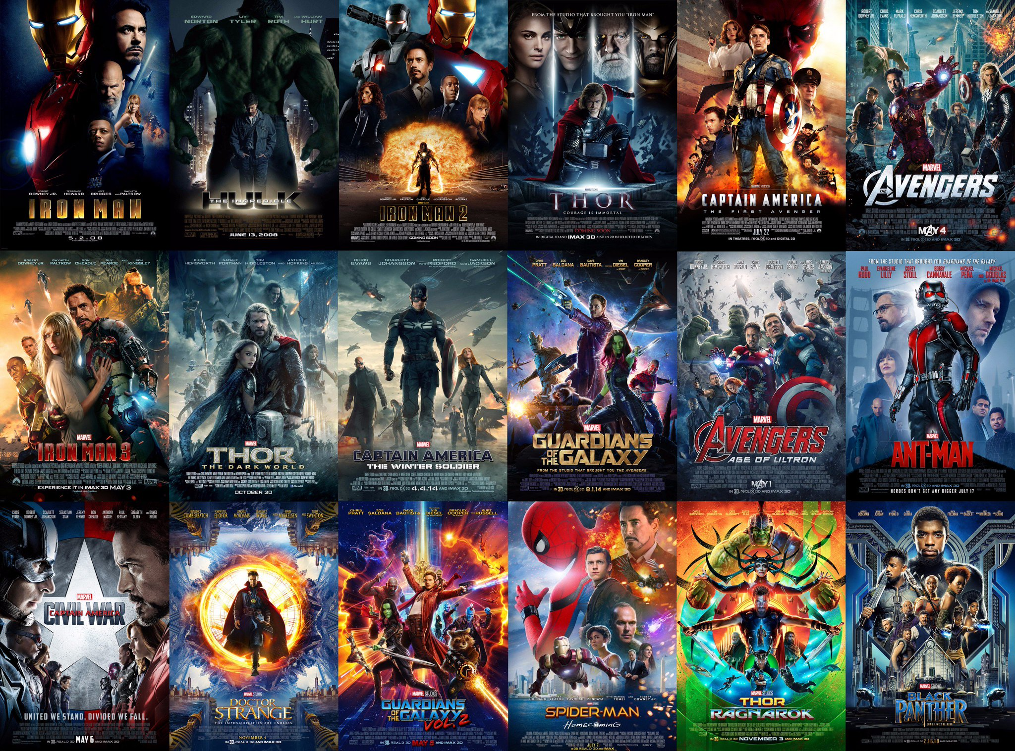mcu news  u0026 tweets on twitter   u0026quot the theatrical posters for the first 18 marvel cinematic universe