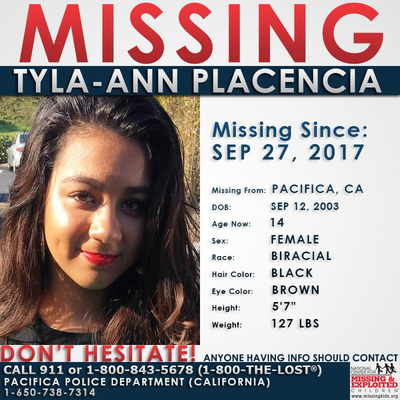 #MISSING! Tyla-ann was last seen on September 27, 2017 in #Pacifica, #California  http://www. missingkids.com/poster/NCMC/13 09688 &nbsp; … <br>http://pic.twitter.com/2rs27Z3Vfl