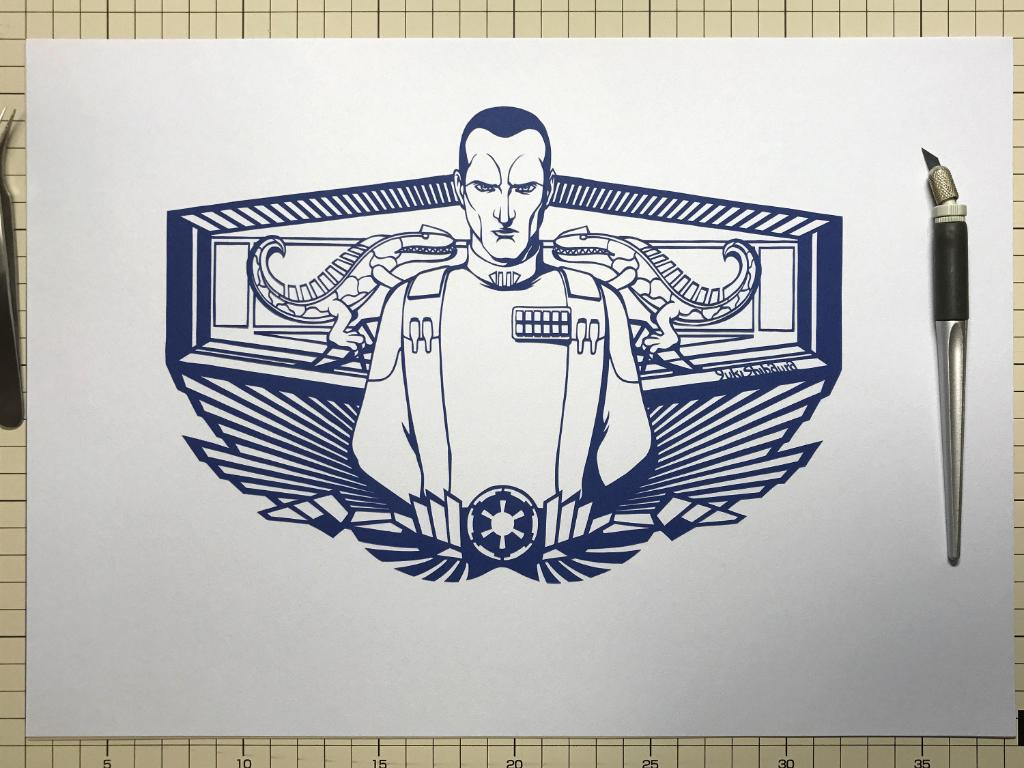We can't help but feel Grand Admiral Thrawn would appreciate @shibaura_hm's paper art. #StarWarsRebels https://t.co/UD3PigWcKU
