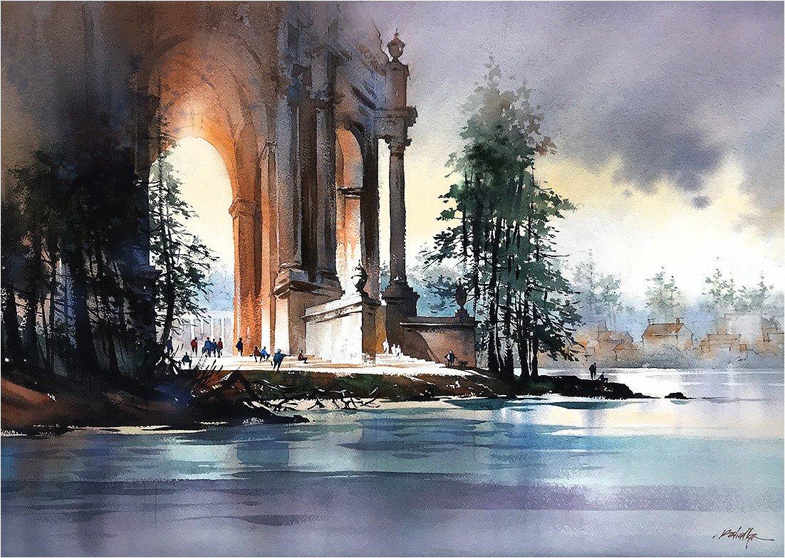 Evening #palaceoffinearts #sanfrancisco #california #art #architecture #watercolor #bernardmaybeck #beauxarts #thomaswschaller<br>http://pic.twitter.com/mzdejzXGjk
