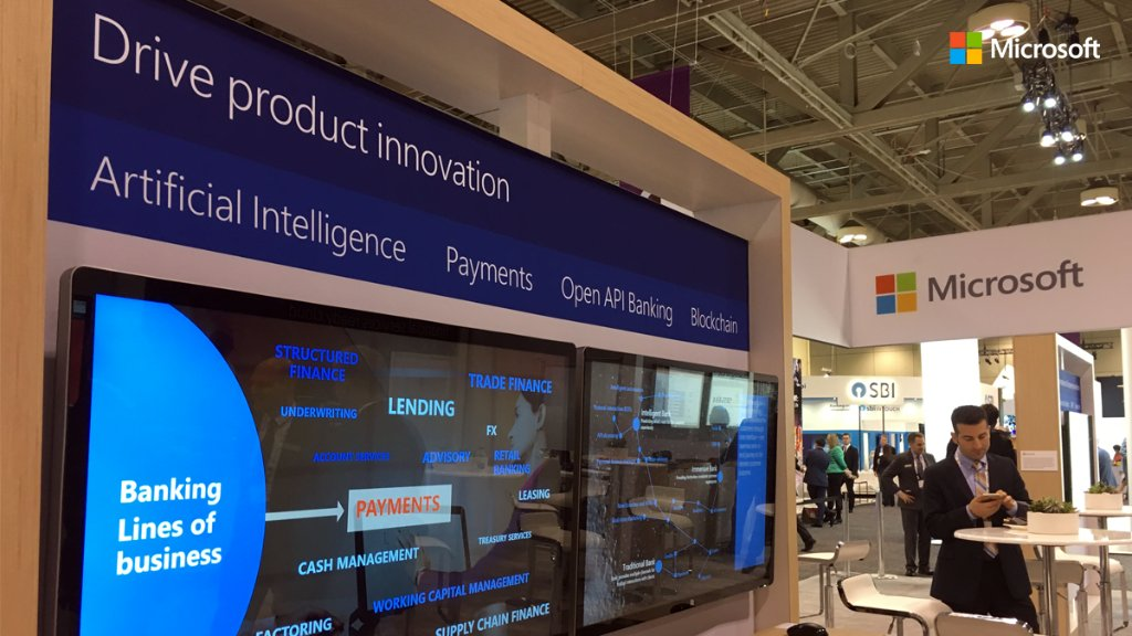 Come discuss the latest in #AI, #blockchain, #openbanking &amp; more with us at #Sibos. Join us at stand C46.  http:// msft.social/96ofd2  &nbsp;  <br>http://pic.twitter.com/VXq6xexrCE