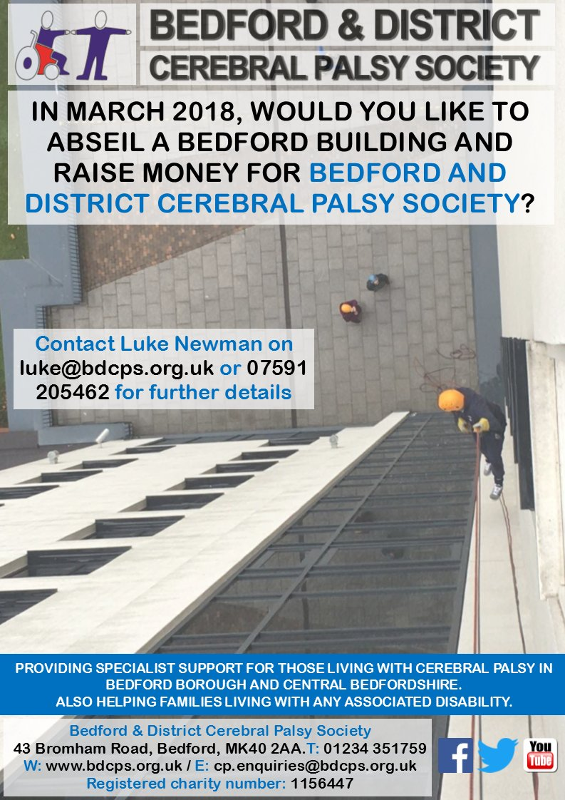 Would you like to #abseil a #Bedford building in march 2018 &amp; raise money for @bdcps If so, contact Luke on luke@bdcps.org.uk #BedsHour<br>http://pic.twitter.com/zgBxUbpQTr