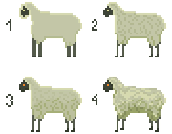 Our writer tries to learn how to make a #pixelart sheep in four stages. #newbie #art #indiegame #indiedev #gamedev #conceptart #visualnovel <br>http://pic.twitter.com/LVlgUvrSHL