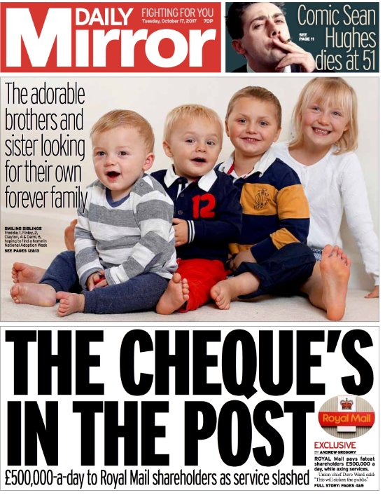 DAILY MIRROR FRONT PAGE: The cheque's in the post #skypapers