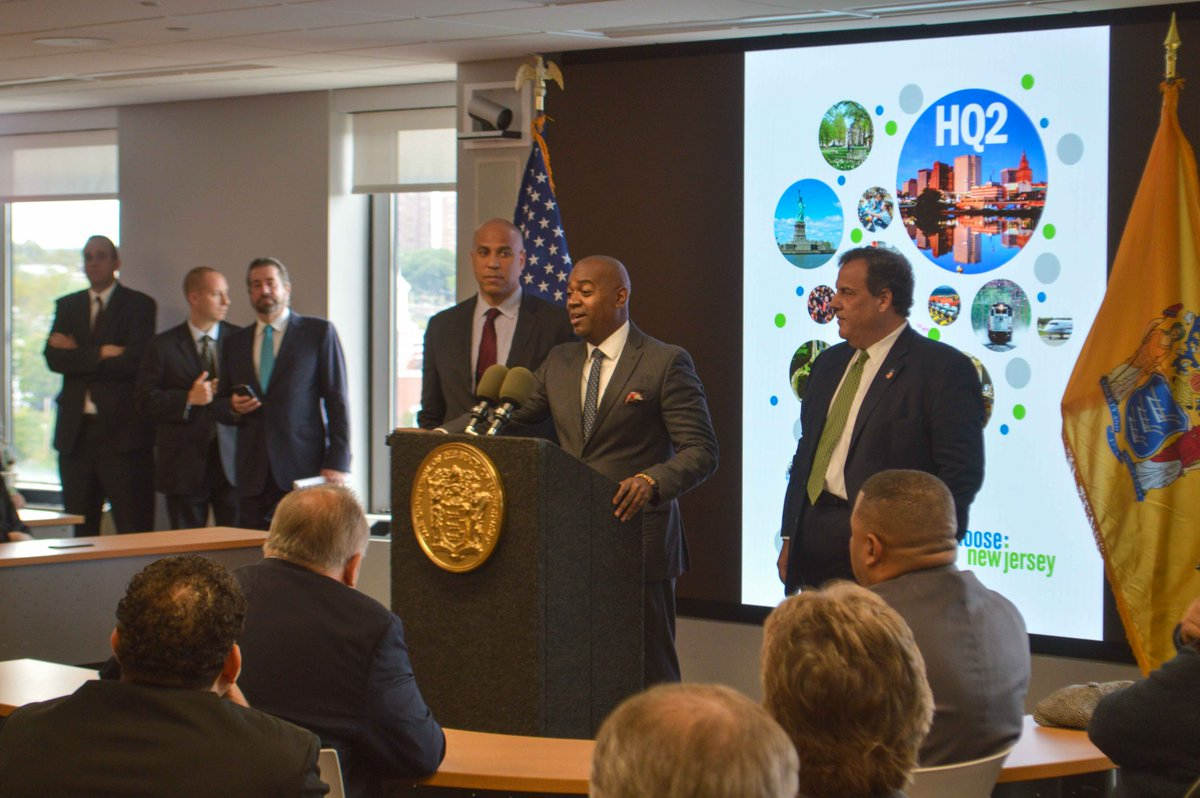 Today Mayor @rasjbaraka  announced Newark's bid for @amazon's #HQ2 with Sen. @CoryBooker  & @GovChristie. #YesNewark https://t.co/9JMSAd64Eg