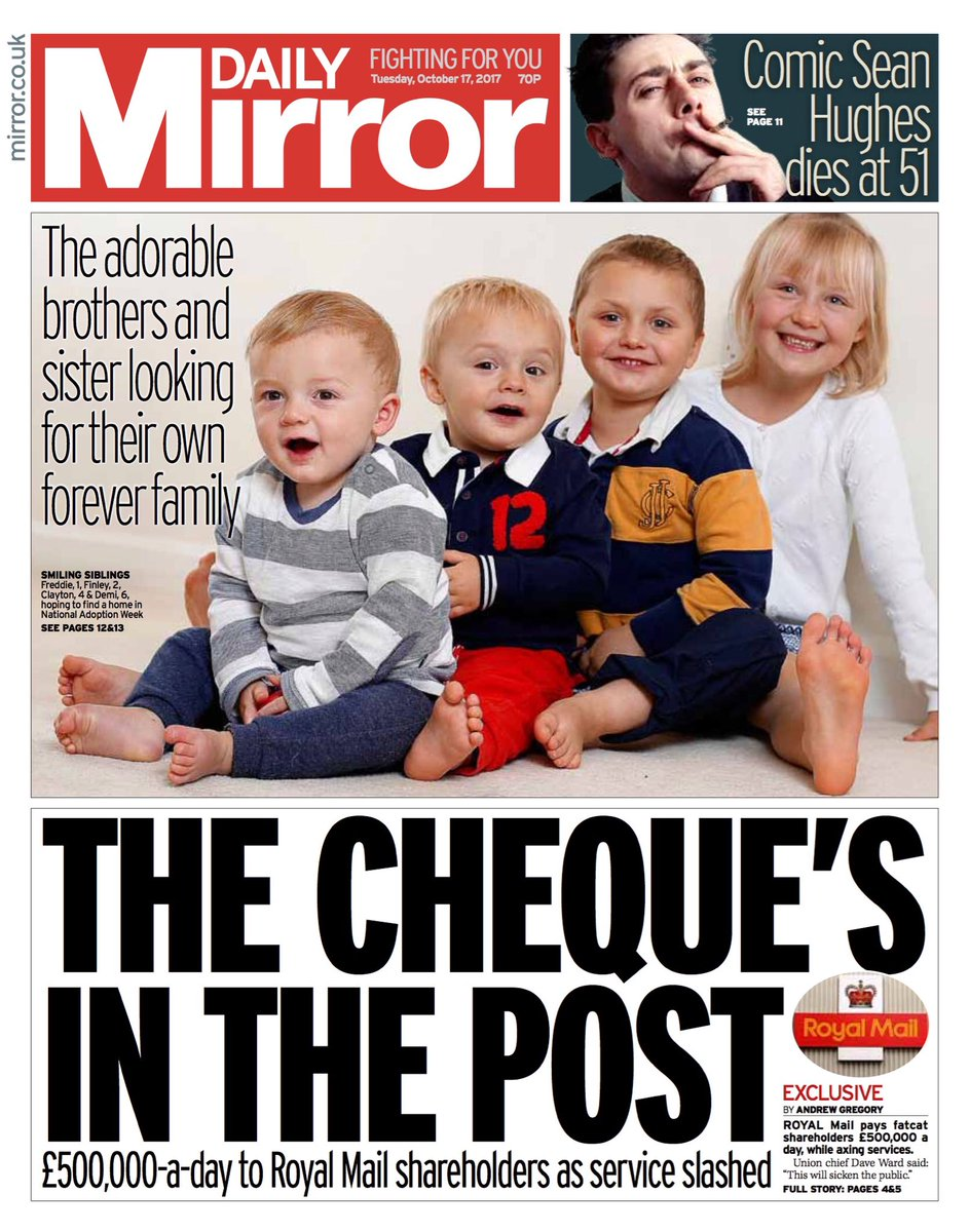 Tuesday's Daily Mirror  'The cheque's in the post'  #tomorrowspaperstoday #bbcpapers (via @hendopolis)
