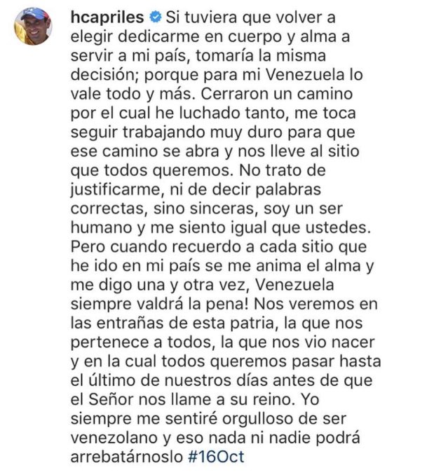 #16Oct # POSICIÓN   @hcapriles frente a los comicios regionales de est...