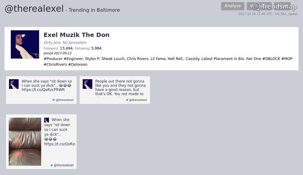 Exel Muzik The Don, @therealexel is now trending in #Baltimore   https://www. trendsmap.com/r/US_BAL_cjpast  &nbsp;  <br>http://pic.twitter.com/32jgLhf8G0
