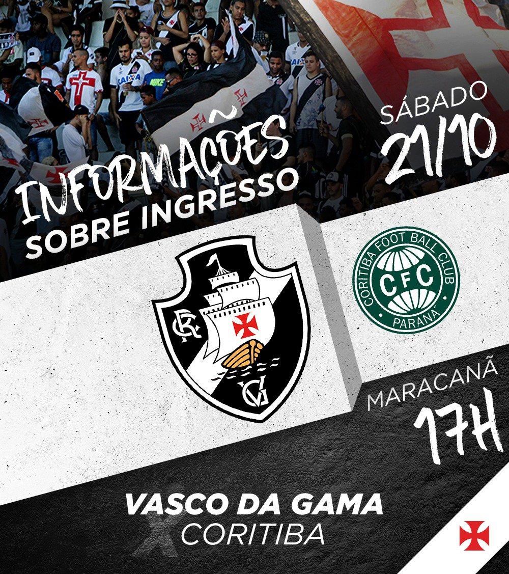 Sábado é dia de Vasco x Coritiba no Maracanã! Confira todas as informações sobre ingressos: https://t.co/7LnbT6mEQR   #GiganteNoMaraca
