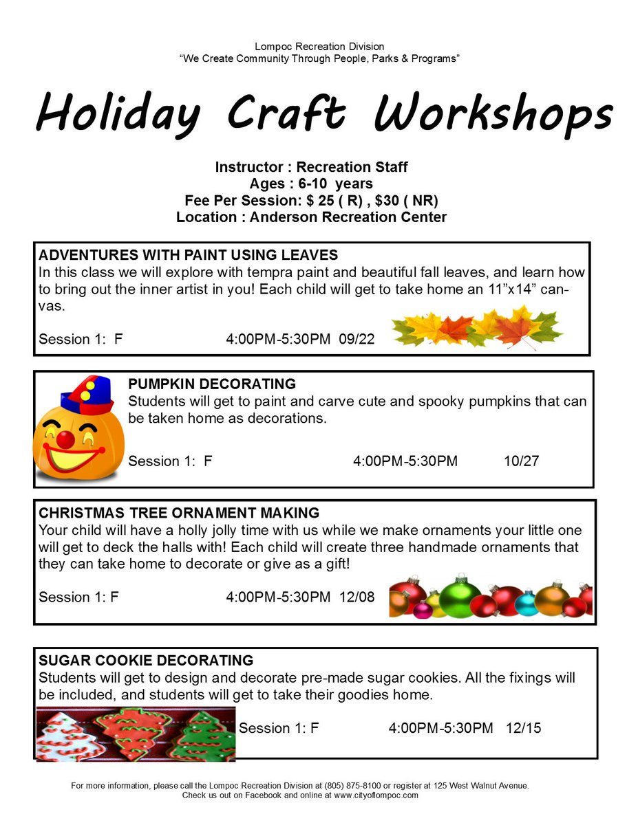 Get your #pumpkin picking and decorating done in one place with this great workshop! visit  http:// cityoflompoc.com  &nbsp;   for details. #recreation <br>http://pic.twitter.com/WuncnYdc5y