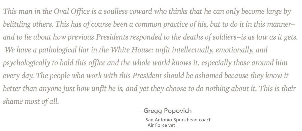 Gregg Popovich, Air Force vet, telling it like it is. To speak truth about dictators, dangerous.  #popovich #Republican #Trump #Soldiers<br>http://pic.twitter.com/eoq4kVNWpm