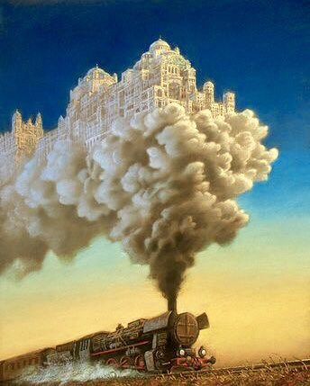 ❦Human dreams and definitions of art and progress sometimes go full circle.~Anne Scottlin #dream #ancient #city #clouds #train ArtDesigntaxi<br>http://pic.twitter.com/LWvVPonnBc