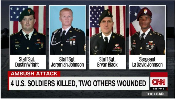 #Trump &amp;.@VP say #TakeAKnee &quot;DISRESPECTS&quot; military yet SAID NOTHING after 4 soldiers killed #TheResistance #CNN #MSNBC<br>http://pic.twitter.com/pwBXllfGIH