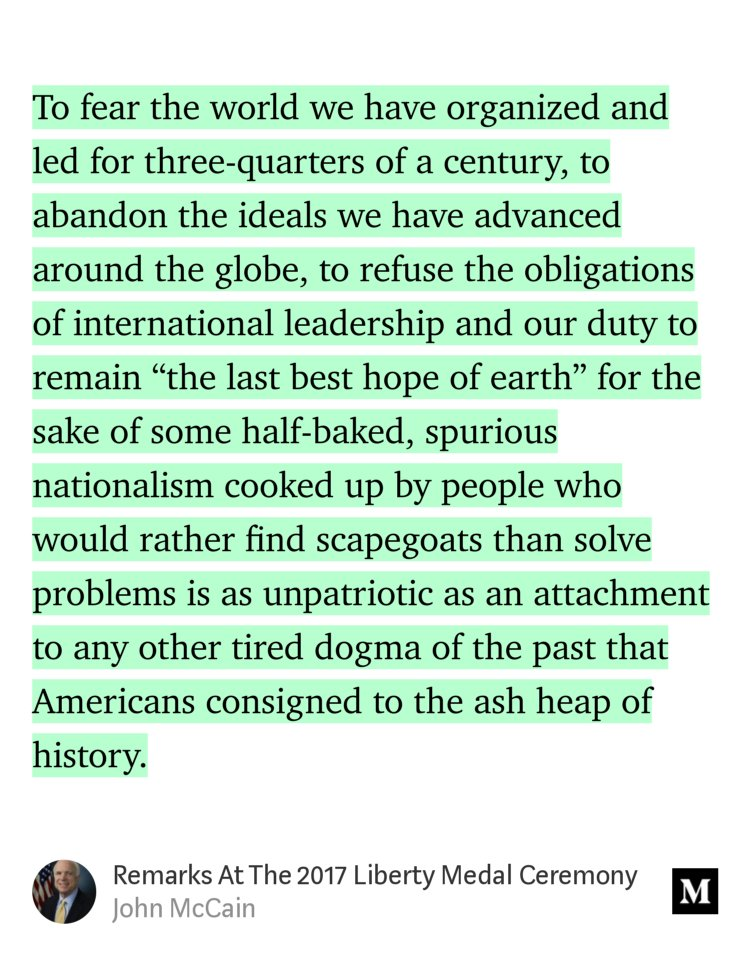 To refuse US leadership for half-baked nationalism is as unpatriotic as any dogma consigned to ash heap of history https://t.co/Y07Sxa1b7V