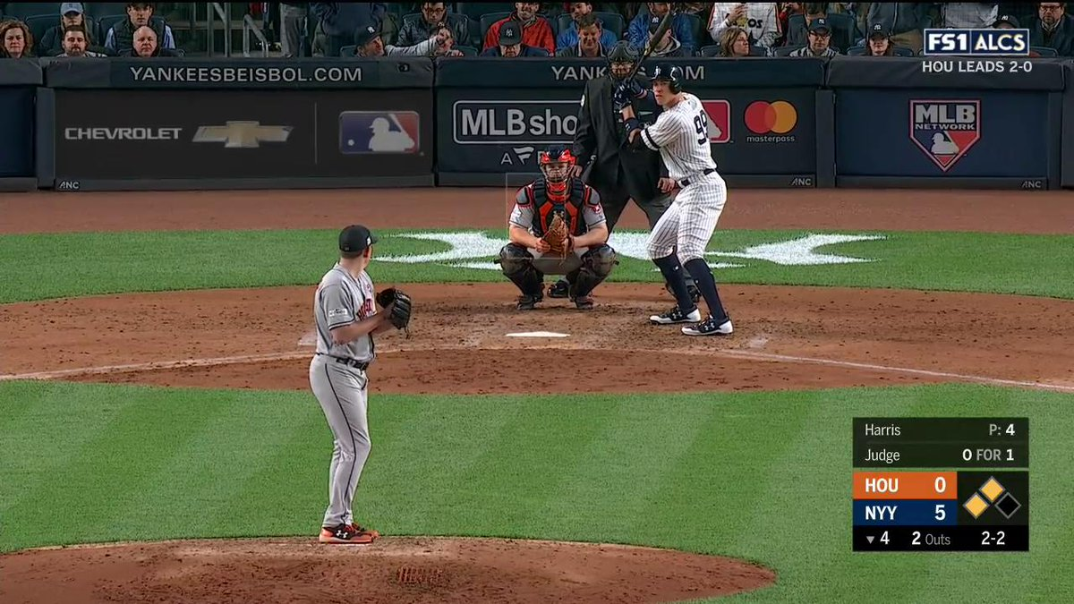 AARON JUDGE GIVES ONE A RIDE.  @YANKEES LEAD 8-0!  #ALCS https://t.co/...