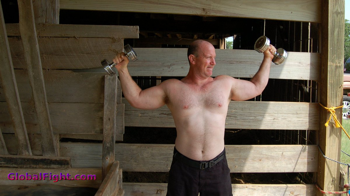My Louisiana rancher pal from  http:// GLOBALFIGHT.com  &nbsp;   #louisiana #ranch #farmer #farm #son #barn #noshirt #biceps #hunky #cute #weightlifter<br>http://pic.twitter.com/jN4e2H6Jaq