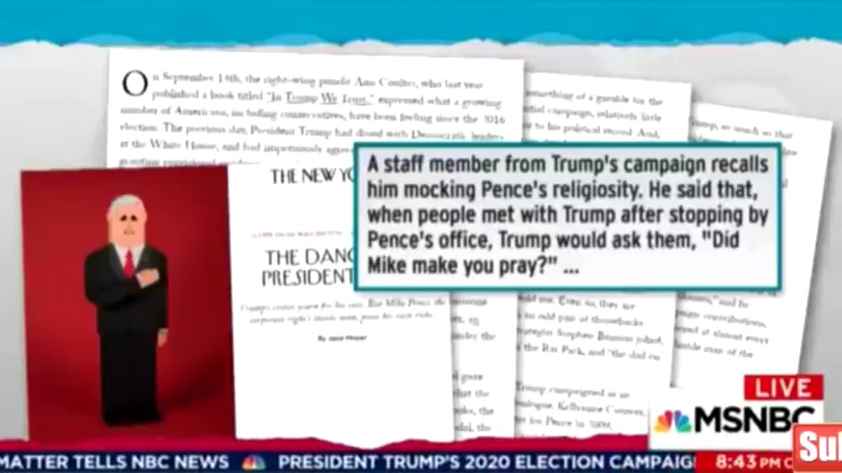 #BREAKING:.@maddow piece reveals.@VP Pence is such a FAKE Christian, EVEN #Trump MOCKS HIM!! #TheResistance #CNN #MSNBC<br>http://pic.twitter.com/ydC0ZDRMur