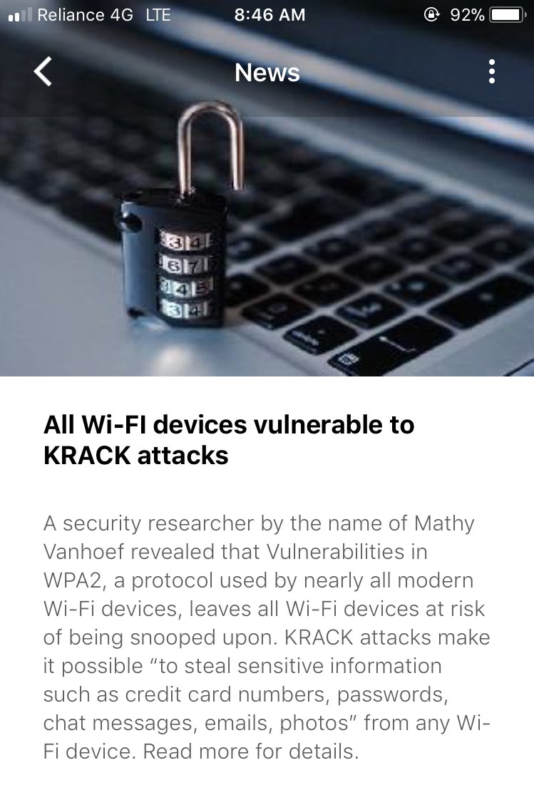 All Wi-Fi devices vulnerable to KRACK attacks #hacking #Hackers #vulnerability #vulnerable #DataSecurity #databreach #cybersecurity #WiFi<br>http://pic.twitter.com/kANDzdKcsD
