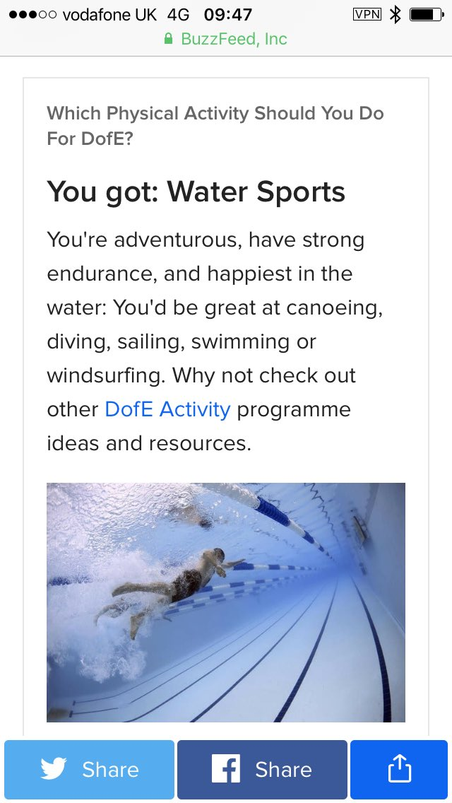 I did the #buzzfeed Which Physical activity should you do for #DofE quiz. Think it&#39;s pretty accurate!<br>http://pic.twitter.com/CWXcG44rZF