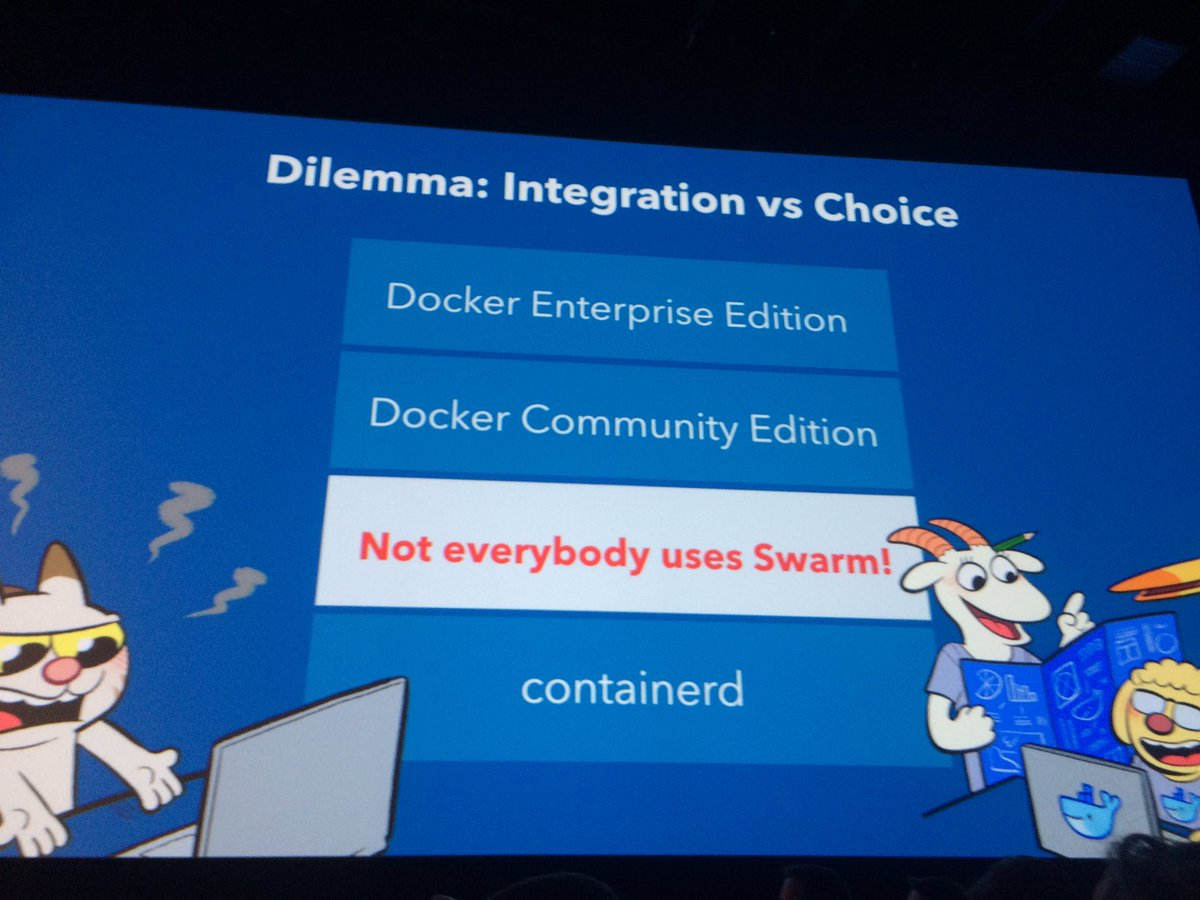 #dockercon announces that you can choose btween #swarm &amp; #kubernetes for #orchestration in #docker EE<br>http://pic.twitter.com/TsMBt2jQ5o