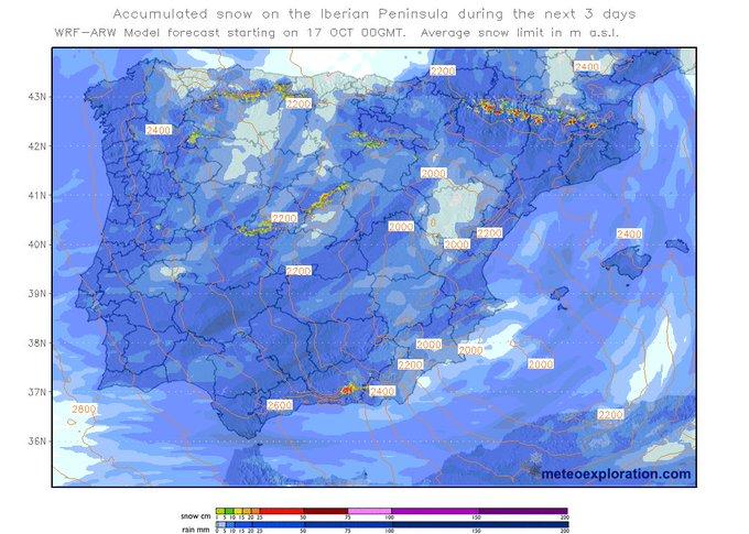 Los próximos días podrá nevar en las cotas altas de casi todos los sistemas montañosos de la Península!!! ❄️❄️❄️🎉 (via @meteoexplorer)