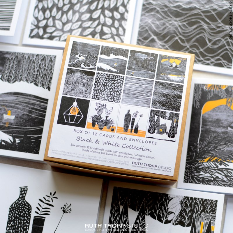 Black &amp; White Collection Box of 12 Cards  http:// etsy.me/2ytPsSt  &nbsp;   #monochrome #bw #yellow #wilderness #justacard #handmade #meditation #home<br>http://pic.twitter.com/ydX0fWZdaq