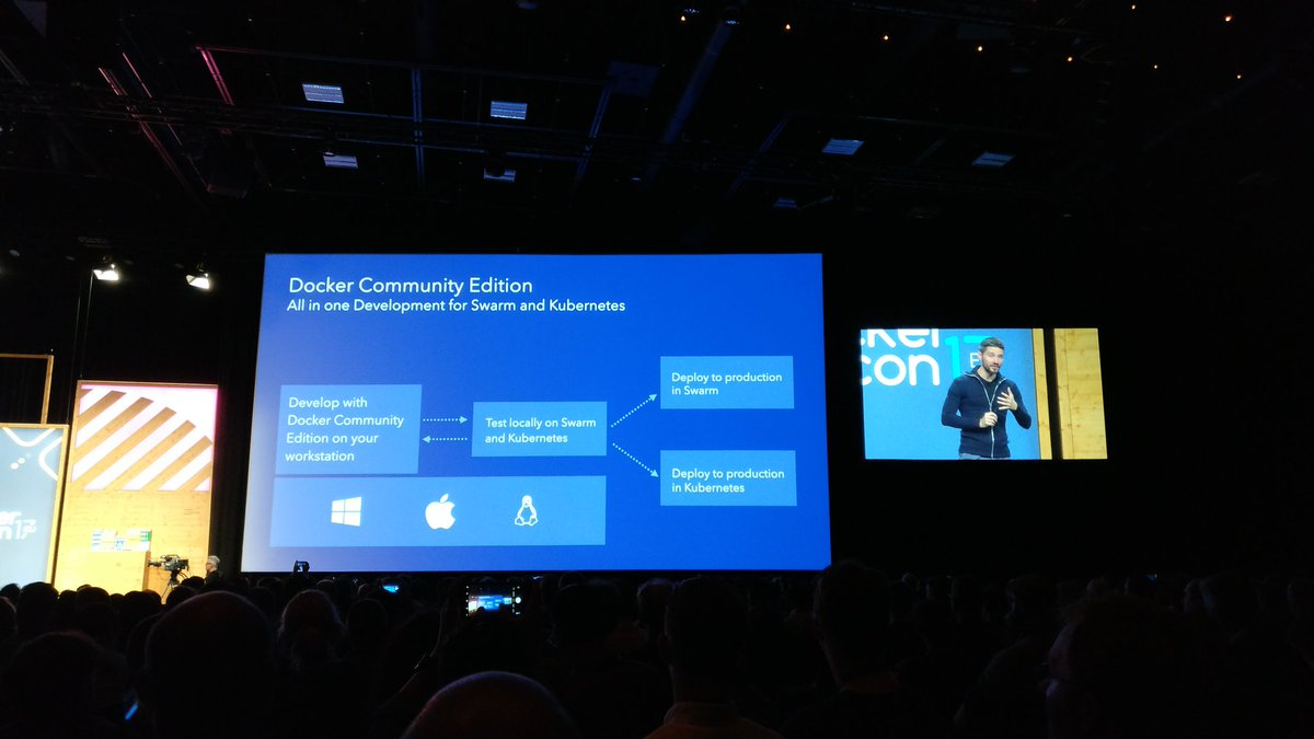 Updates on the #Docker Community Edition: All in one Development for #Swarm AND #Kubernetes! #demo #DockerCon @DockerCon<br>http://pic.twitter.com/0XvUBP0rIw