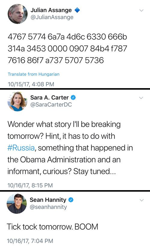 The pieces of the puzzle are coming together @JulianAssange @seanhannity @SaraCarterDC #Russia  #TickTock<br>http://pic.twitter.com/2axreZldpx